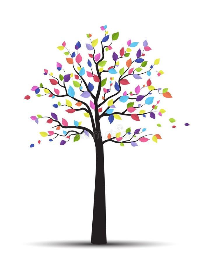Baum und bunte Blätter vektor abbildung