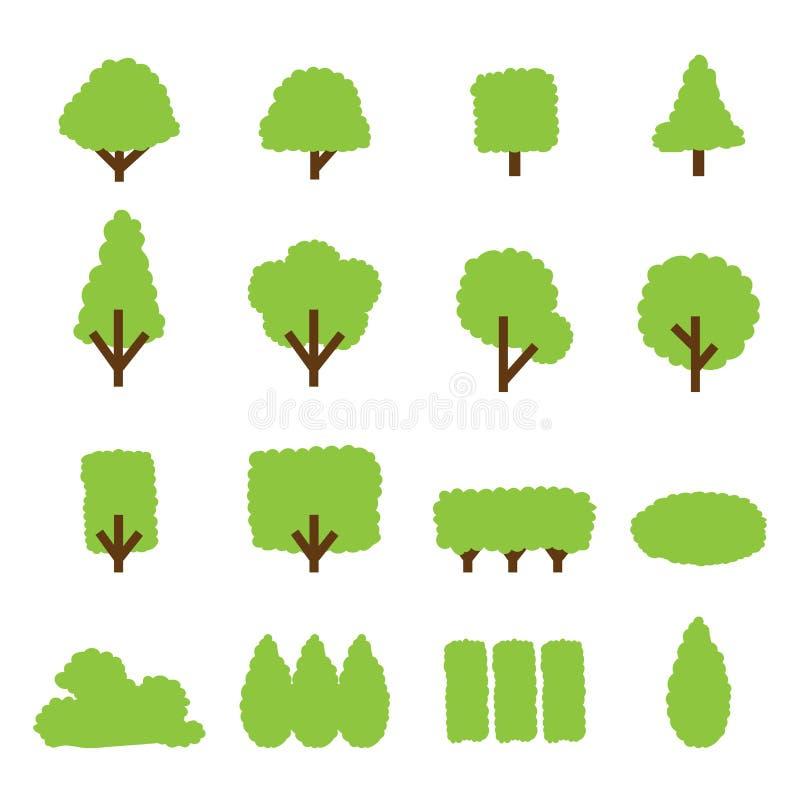 Baum- und Buschikone lizenzfreie abbildung