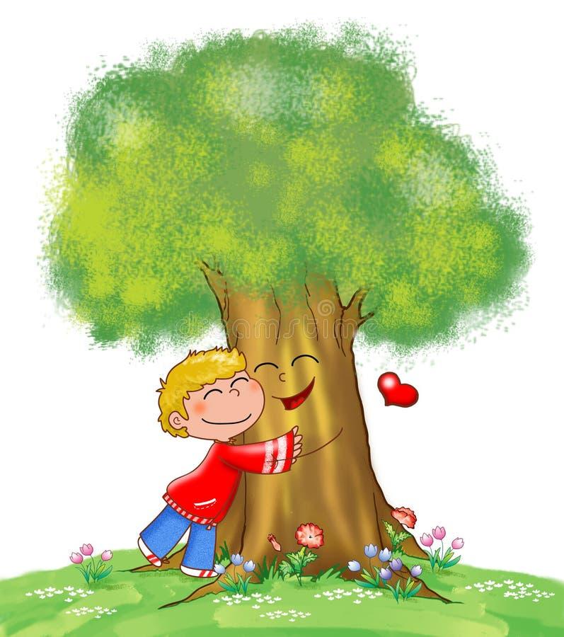 Baum und Kind stock abbildung
