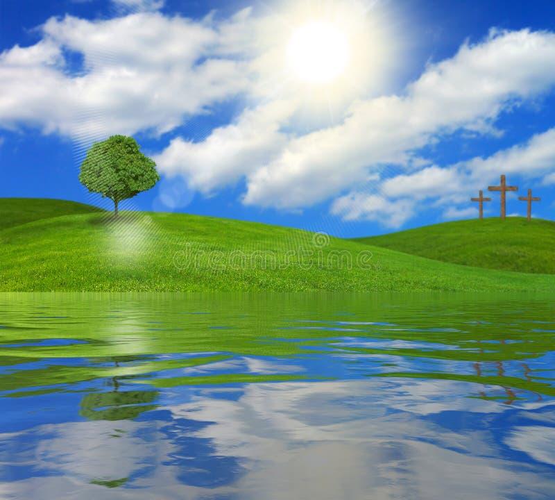 Baum und Kreuze auf Seeufer lizenzfreies stockbild