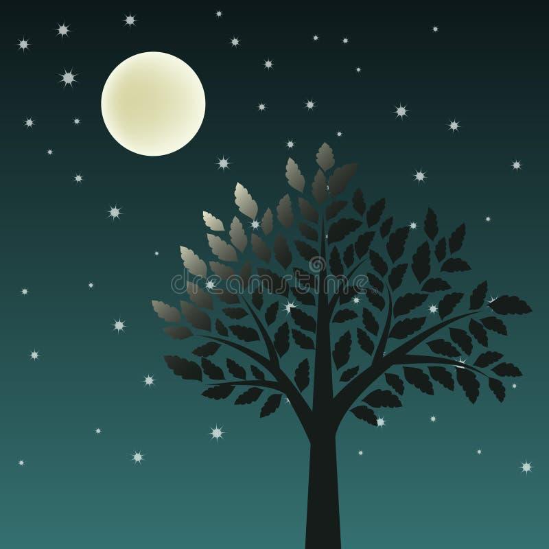 Baum und Mond stock abbildung
