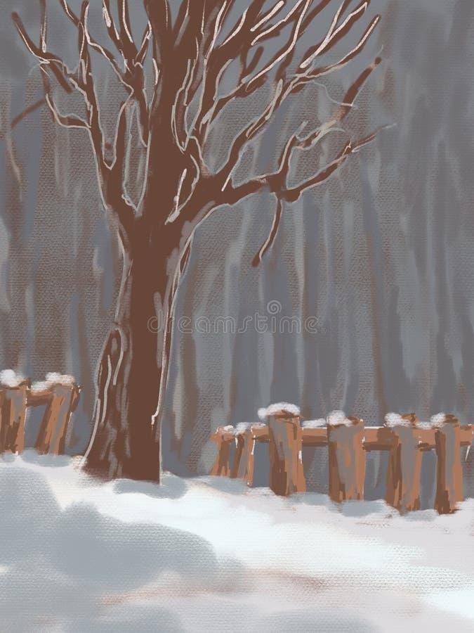 Baum und Zaun unter dem Schnee, Winterlandschaft lizenzfreie abbildung