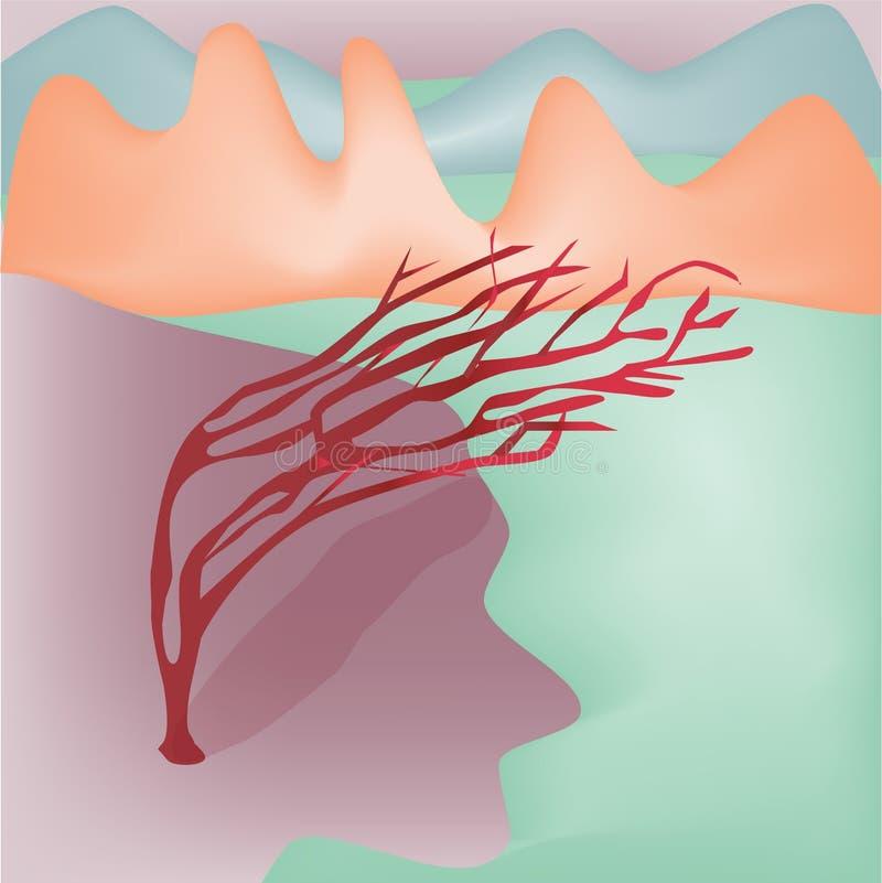 Baum verbogen durch den Wind stock abbildung