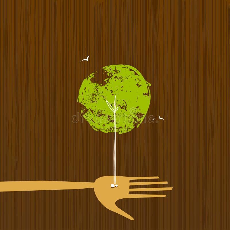 Baum-Wachstum von einer Hand stock abbildung