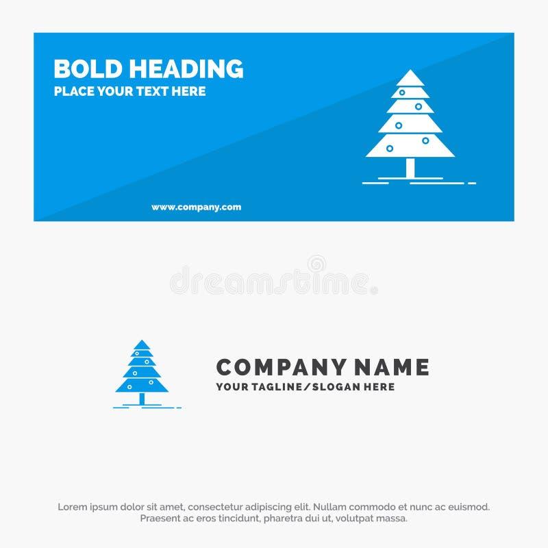 Baum, Wald, Weihnachten, Weihnachtsfeste Ikonen-Website-Fahne und Geschäft Logo Template stock abbildung