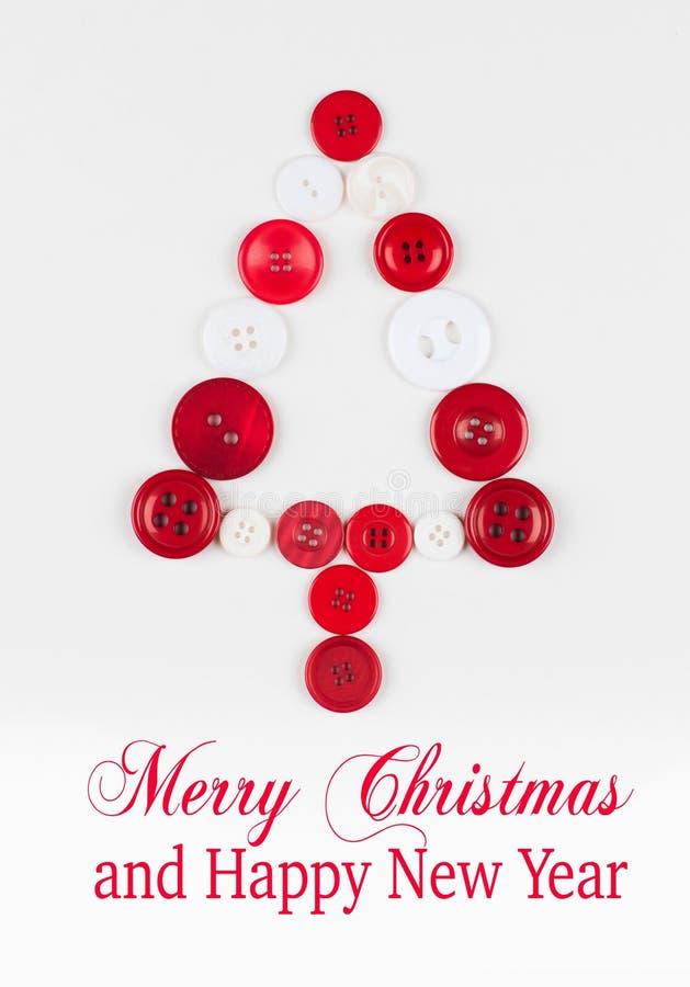 Baum-Weihnachtshintergrund der weißen und roten Knöpfe, lokalisiert auf Weiß mit Kopienraum lizenzfreie abbildung