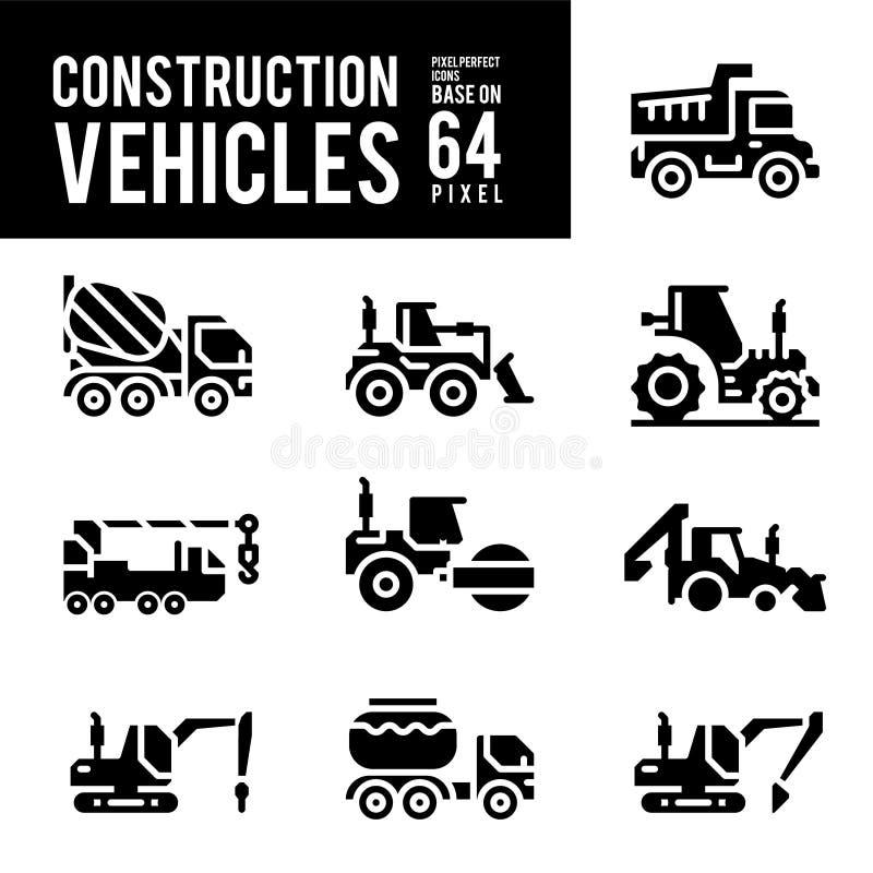 Baumaschine und Transport Glyph und feste Ikonen stock abbildung