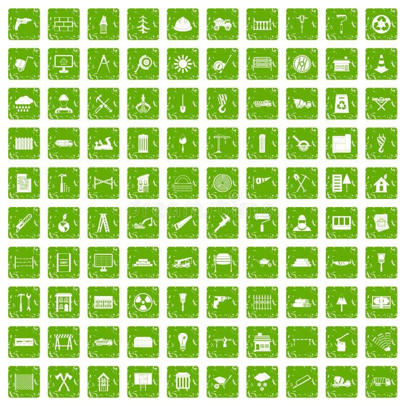 100 Baumaterialikonen stellten Schmutzgrün ein stock abbildung