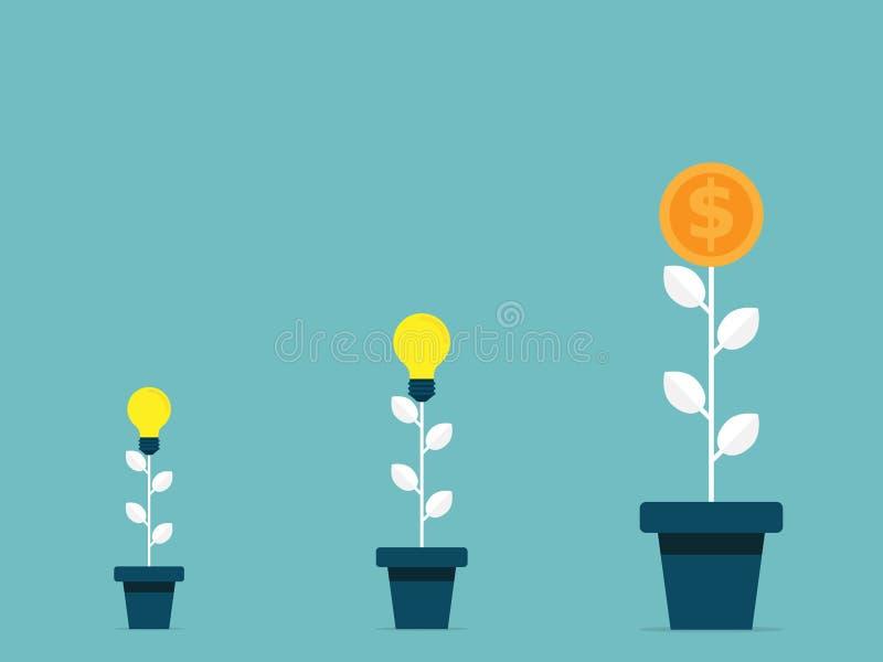Baumbirnen-Ideenwachstum zum flachen Design des Geldbaumgeschäfts-Konzeptes stock abbildung