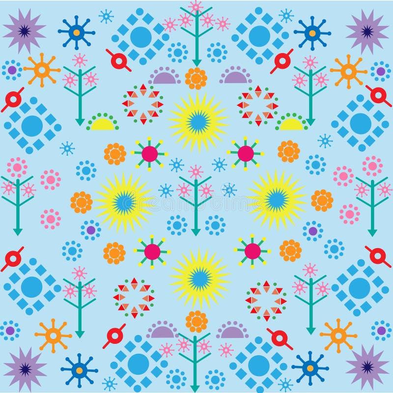 Baumblumenmuster färbten Symbolverzierung auf blauem Hintergrund vektor abbildung