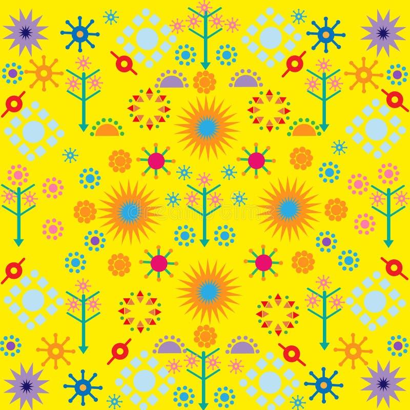 Baumblumenmuster färbten Symbolverzierung auf gelbem Hintergrund stock abbildung