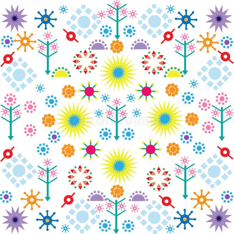 Baumblumenmuster färbten Symbolverzierung auf weißem Hintergrund stock abbildung