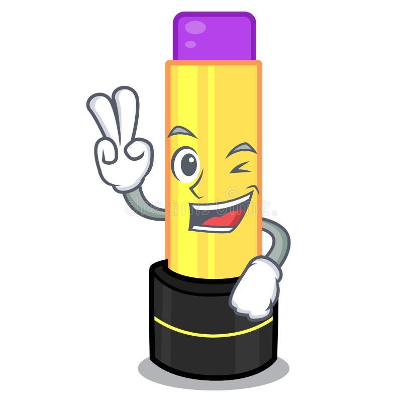 Baume à lèvres de deux doigts au-dessus de coiffeuse de mascotte illustration stock