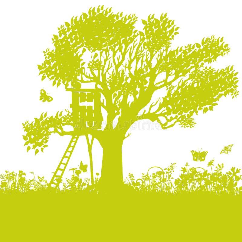 Baumhaus in einem alten Baum lizenzfreie abbildung
