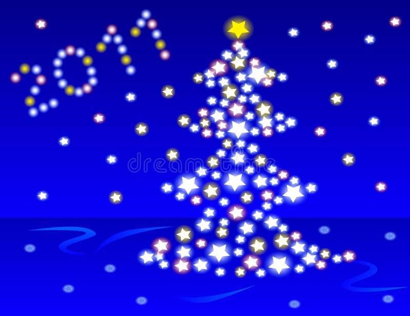 Baumhintergrund des neuen Jahres. stock abbildung