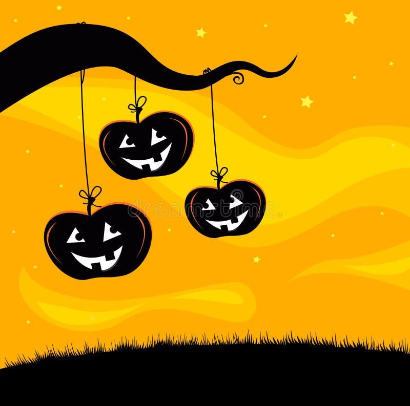 Baumhintergrund Halloween-Jack O'Lantern vektor abbildung