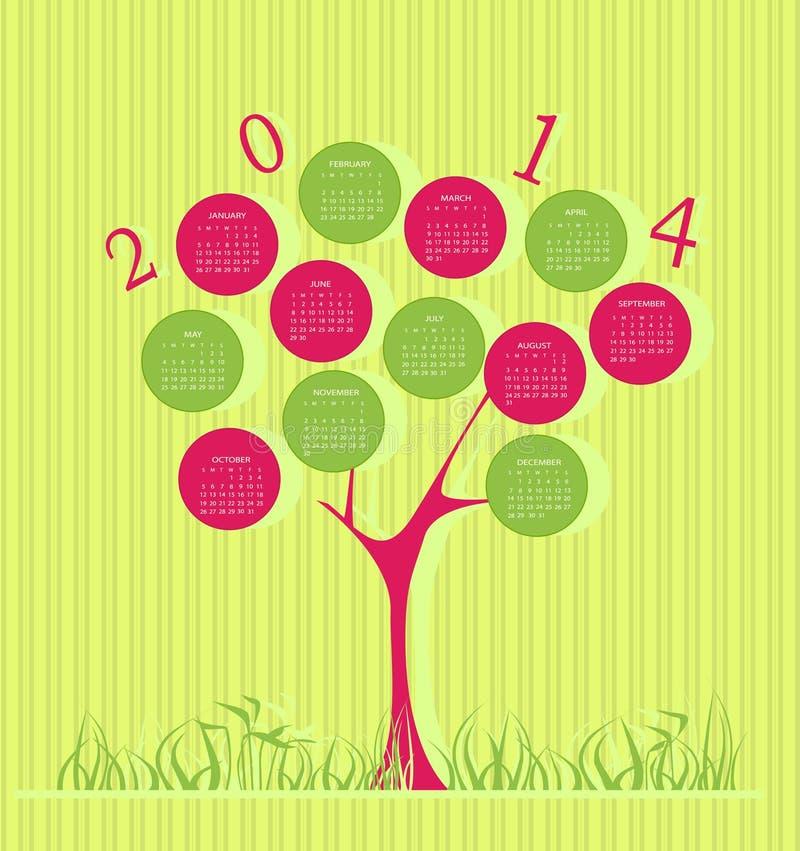 Baumkalender für 2014-jähriges stock abbildung
