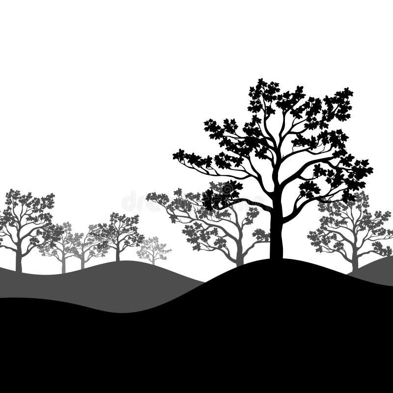 Baumkirschblüte-Schattenbild mit Landschaft Auch im corel abgehobenen Betrag stock abbildung