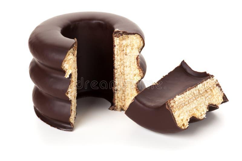 Baumkuchen, Niemiecki warstwa tort odizolowywający fotografia stock