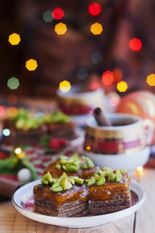 Baumkuchen z phistachio zdjęcie stock