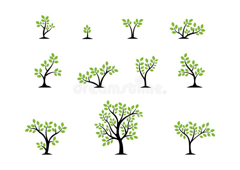 Baumlogokonzept, Satz des Baumnatur Wellnesssymbolikonen-Designvektors vektor abbildung