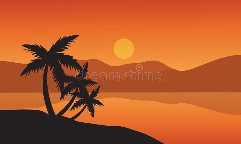 BaumPalmeschattenbild auf tropischem Strand des Sonnenuntergangs stock abbildung