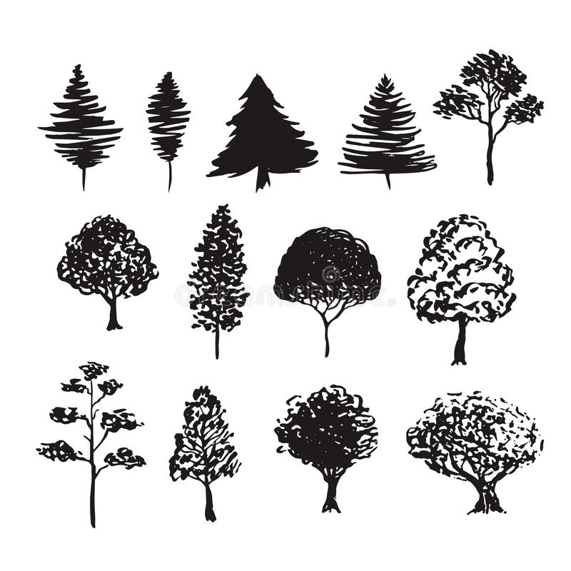 Baumschattenbild-Vektordekoration Hand gezeichnete Skizzen lokalisierten Satz lizenzfreie abbildung