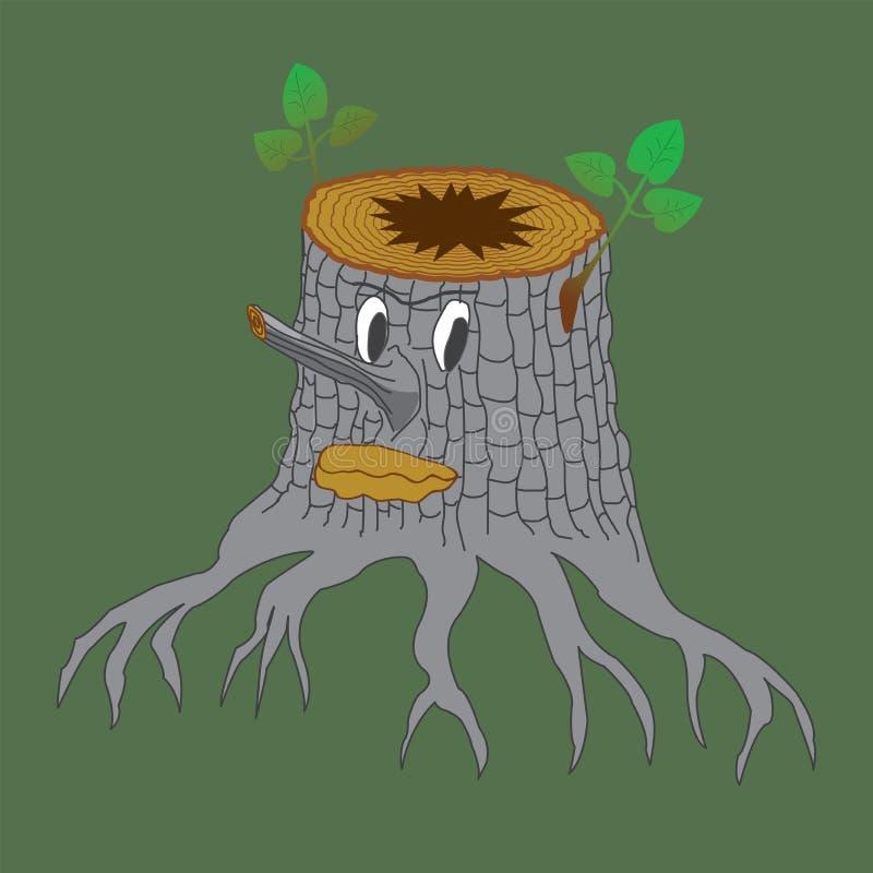 Baumstumpf-Monsterkarikatur-Farbzeichnung stock abbildung