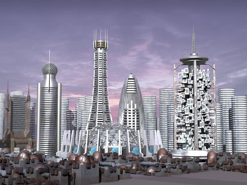 Baumuster 3d der Sciencefictionstadt stock abbildung