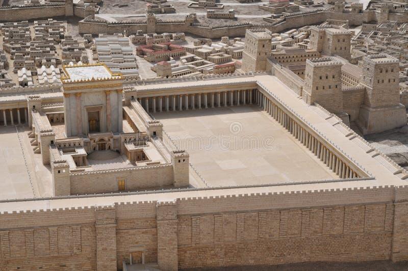 Baumuster des alten Jerusalem-Tempels stockfotos
