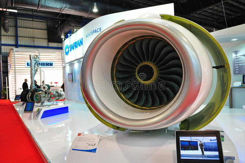 Baumuster des Düsentriebwerks in Singapur Airshow stockbilder