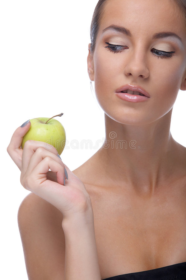 Baumuster mit Apfel stockfoto