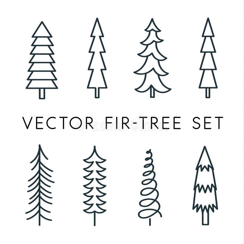Baumvektor-Ikonensatz Kiefernlinie, linear, Entwurfslogo Lokalisierte Naturikonen Einfache flache Vektorillustration für stock abbildung