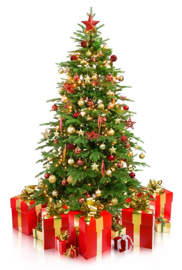 Baumweihnachten mit Geschenken lizenzfreie stockfotos