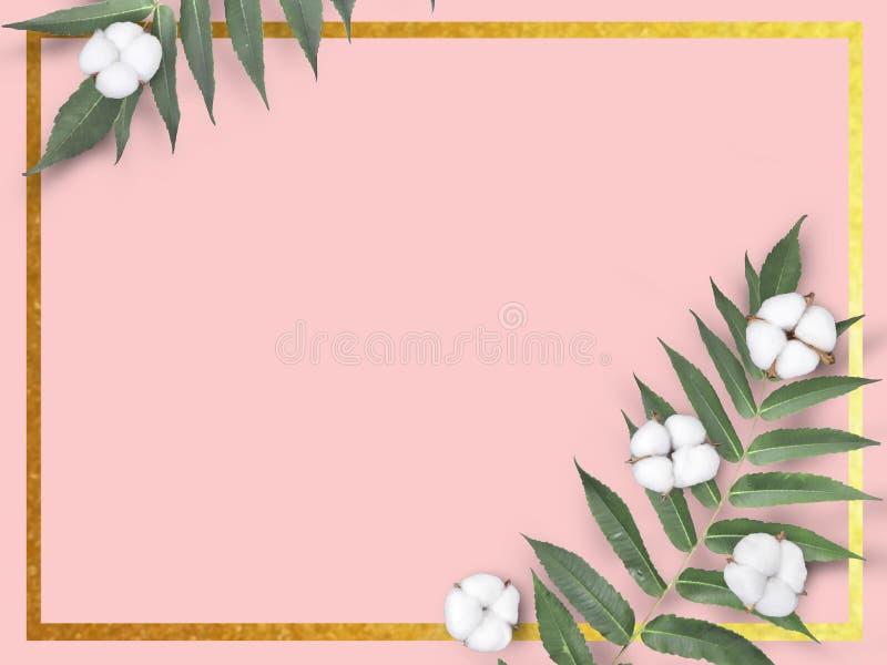 Baumwoll- und Blattrahmen auf rosa Hintergrund stockfoto