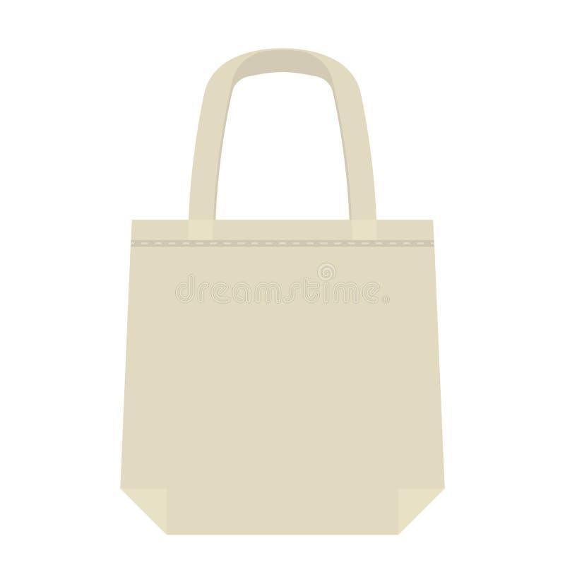 Baumwolle oder Leinenökotasche für den Einkauf im Speicher und im Markt Eine Alternative zu den Plastiktaschen und zu den Plastik stock abbildung