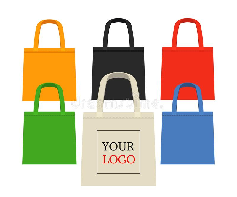 Baumwolle oder Leinenökotasche für den Einkauf im Speicher und im Markt Eine Alternative zu den Plastiktaschen und zu den Plastik lizenzfreie abbildung
