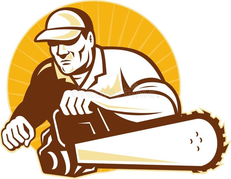 Baumzüchterhändlerscherblock mit Kettensäge lizenzfreie abbildung