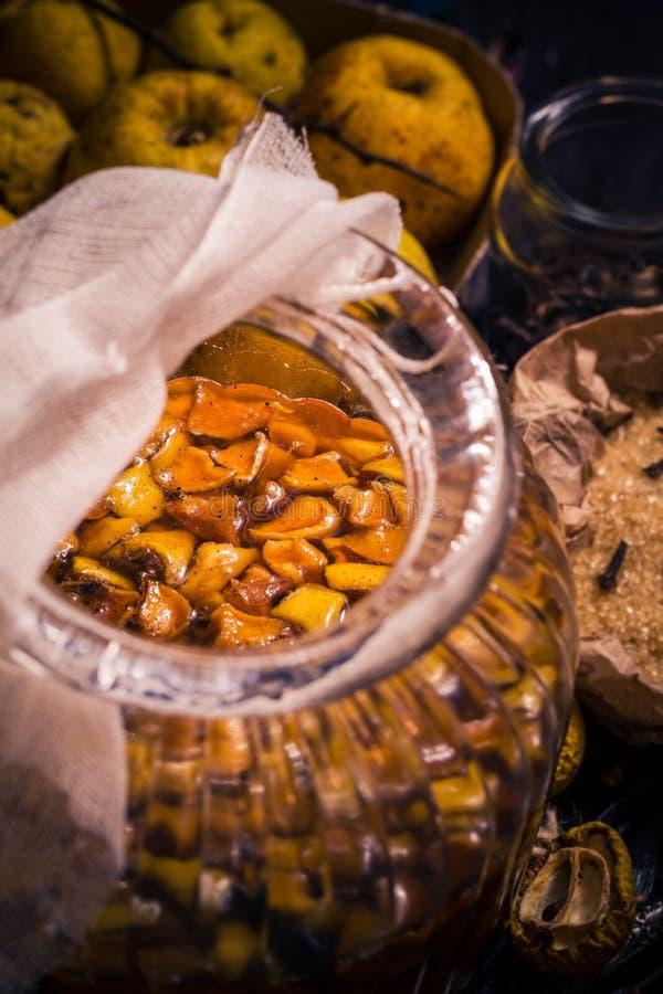 Baunilha w dos cravos-da-índia do açúcar do marmelo dos galhos dos frutos das tinturas dos ingredientes imagens de stock royalty free