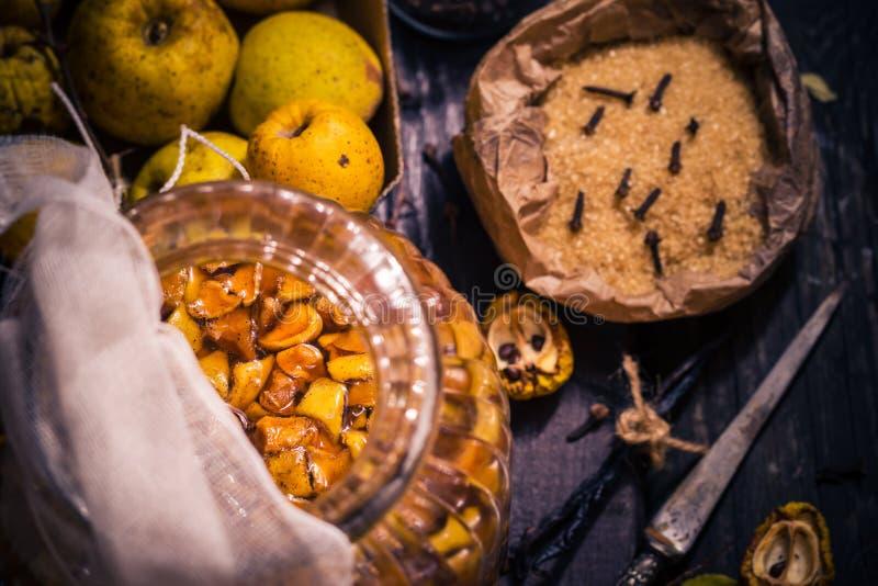 Baunilha w dos cravos-da-índia do açúcar do marmelo dos galhos dos frutos das tinturas dos ingredientes fotos de stock