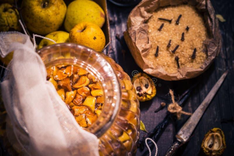 Baunilha w dos cravos-da-índia do açúcar do marmelo dos galhos dos frutos das tinturas dos ingredientes fotografia de stock