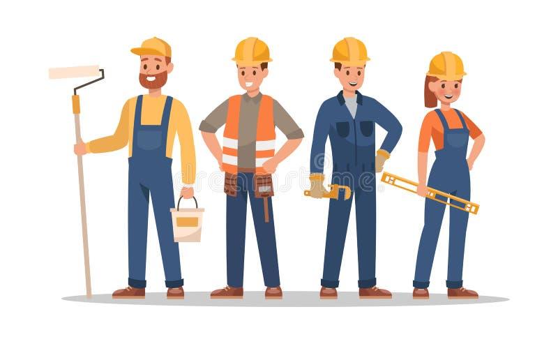 Baupersonal-Charakterentwurf Schließen Sie Vorarbeiter, Maler, Elektriker, Landschaftsgestalter, Tischler mit ein Fachleuteteam vektor abbildung