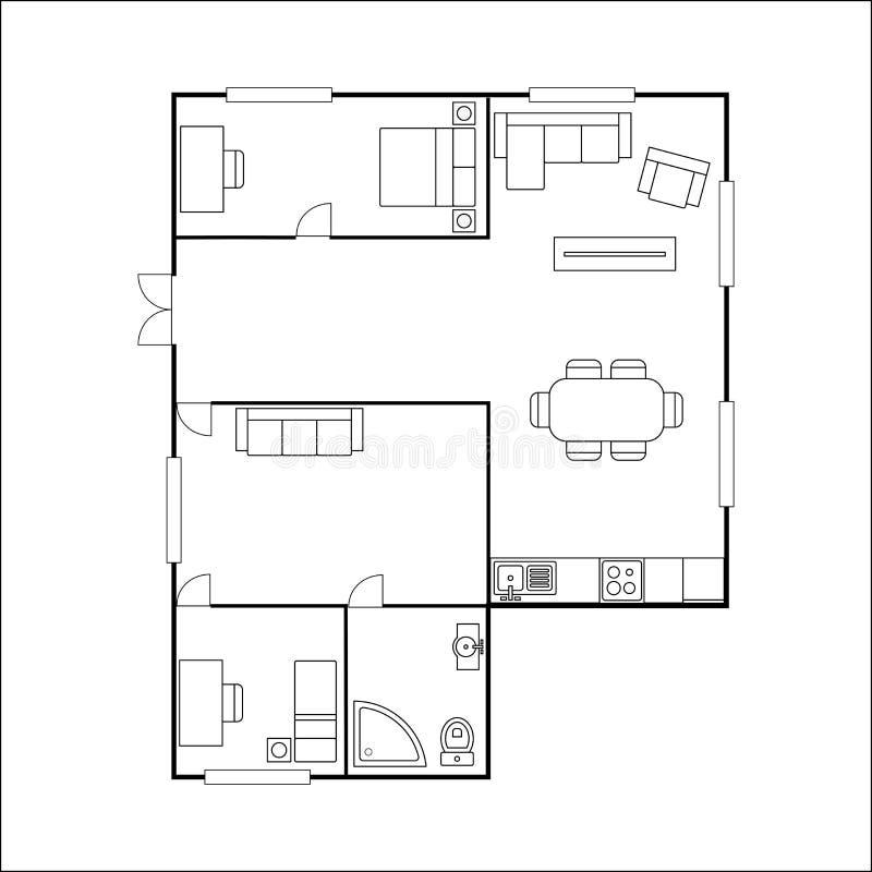 Bauplan Mit Den Möbeln, Lokalisiert Auf Weißem Hintergrund, Vektor ...