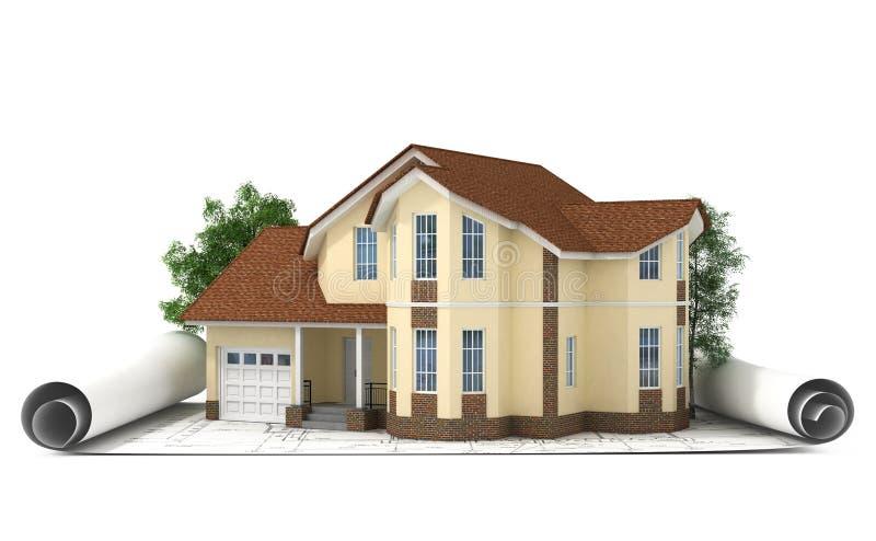 bauplan mit haus und holz 3d stock abbildung illustration von modern entwicklung 41066081. Black Bedroom Furniture Sets. Home Design Ideas