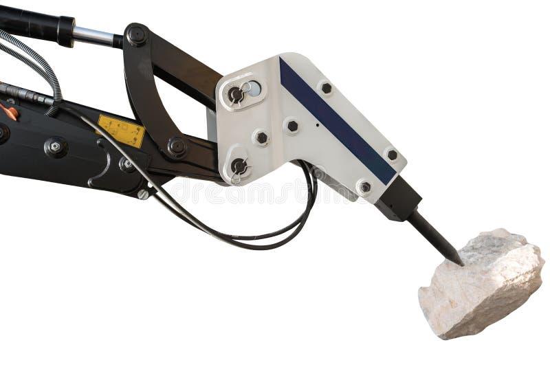 Bauplanierraupe und hydraulischer Unterbrecher lokalisiert mit clipp lizenzfreie stockfotos