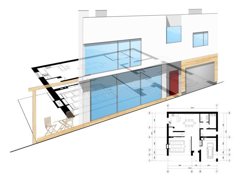 Bauplanierung stock abbildung