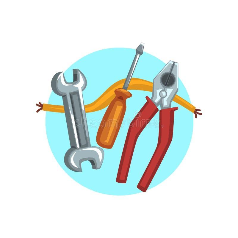 Baureparatur bearbeitet Ikone, Zangen, Schraubenzieher und eine Schlüsselkarikaturvektor Illustration lizenzfreie abbildung