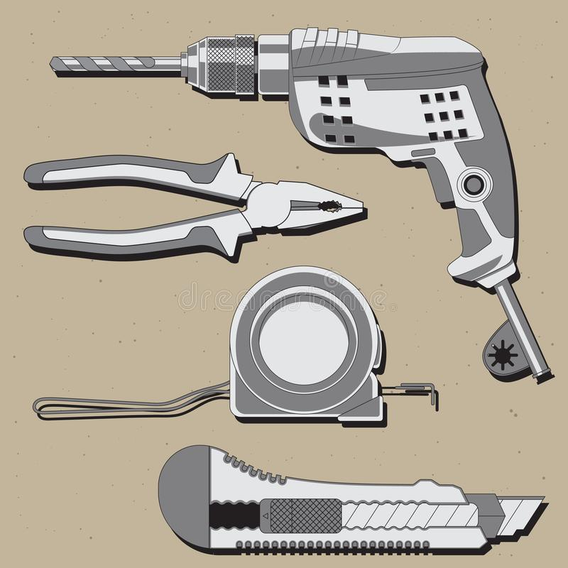Baureparatur-Werkzeugikonen stellten lokalisiert ein Zangen, Übungsmaßband Brieföffner-Illustration lizenzfreie abbildung