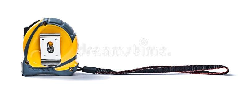 Bauroulette mit dem großen Bügel lokalisiert auf weißem Hintergrund stockfoto