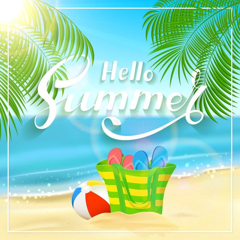 Bauschen Sie sich auf tropischem Strand und Beschriftung hallo Sommer lizenzfreie abbildung